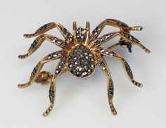 'Coro' Gilded Metal and Marcasite Spider Brooch