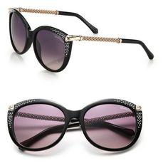 Roberto Cavalli 57Mm Swarovski-Embellished Acetate Sunglasses ($415) ❤ liked on Polyvore featuring accessories, eyewear, sunglasses, black, lens glasses, roberto cavalli sunglasses, roberto cavalli glasses, acetate sunglasses and swarovski crystal sunglasses