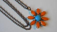 Tangerine Orange and Blue Daisy Necklace Vintage Daisy Flower necklace