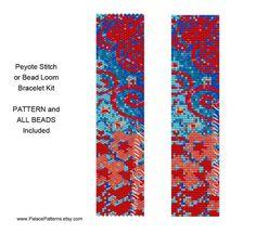 Tissage Peyote Klimt 10 ou métier à tisser Perle Bracelet KIT - motif de tissage et toutes les perles Delica inclus - Kit Bracelet Klimt
