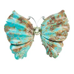 Natural Turquoise Gold Butterfly Brooch Pin Pendant