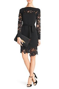 DVF | Lace details add a delicate edge to the lovely Ernestina dress.  Wedding guest dress, black lace, long sleeve.