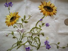 1920s or 30s linen floral embroidery table by TextileArtLace, $48.00