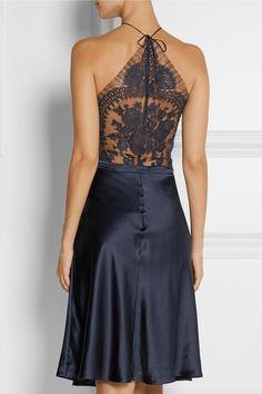 La Perla Pizzo lace-paneled silk-blend satin nightdress  | NET-A-PORTER