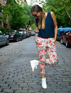 We love this casual, Saturday look. Floral pants and high-tops! Perfect for brunch!