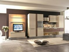 charming modern kitchen designs combined with living area