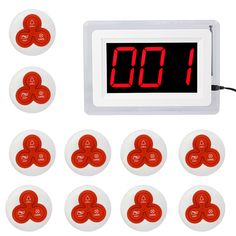 TIVDIO Pager Sistema de Llamada Sin Hilos Sistema de Paginación Restaurante 1 Exhibición del Anfitrión + 10 Campanas de Mesa F9405B Botón de Llamada de Servicio Al Cliente