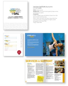 """""""Live Learn Lead"""" booklet, for Dalhousie Student Services. Graphic design. A booklet containing all resources and support contacts available to students on campus."""
