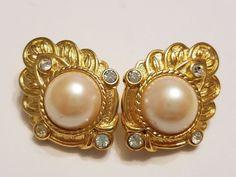 Vintage KJL for Avon gold tone rhinestone faux pearl clip earrings