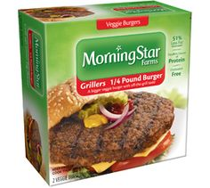 Our biggest better-for-you veggie burger is a super-satisfying quarter pound of authentic off-the-grill flavor. This baby was made to be thrown on the barbie.• 250 calories• 3g fiber• 26g protein• 51% less fat**Morningstar Farms® Grillers® 1/4 Pounder (114g) contains 12g fat per serving, compared with regular ground beef (114g) containing 25g fat per serving.