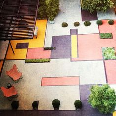 Book research - color block landscaping in 1954. Very hip. #indooroutdoor #design