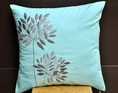 "Blossom Flowers Throw Pillow Cover - 18"" x 18"" Decorative Pillow Cover - Light Blue Linen with Gray Flowers Embroidery"