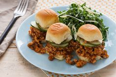 Chicken Sloppy Joe Sliders   with Kale Slaw & Homemade Pickles - super easy....ironically, the star of this recipe is the homemade pickles :)
