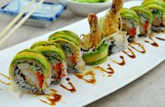 the dragon roll. It's so beautiful, a plate of sushi, that I could pin this as art! Sushi Recipes, Asian Recipes, Cooking Recipes, Healthy Recipes, Cooking Fish, Rice Recipes, Sushi Love, Best Sushi, Dragon Roll Sushi