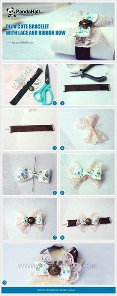 Jewelry Making Tutorial-DIY a Cute Bracelet with Lace and Ribbon Bow | PandaHall Beads Jewelry Blog