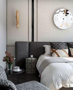 Concept Design of Junxi Mountain Villa Show Flat - InteriorZine New Furniture, Bedroom Furniture, Bedroom Decor, Modern Bedroom, Master Bedroom, Trendy Bedroom, Decoration Design, Suites, Fashion Room