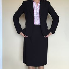 MOVING SALE Tahari Black 2pc Skirt Suit Tahari black blazer and pencil skirt suit. Blazer has 1 button and 2 false pockets. Fully lined. I have matching trousers but they are size 2. Tahari Jackets & Coats