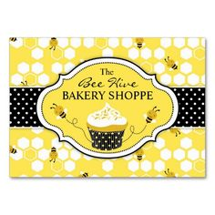 Bumble Bee Business Card created by LetsCelebrateDesigns. This design is available on several paper types and is totally customizable. Bakery Business Cards, Business Card Maker, Unique Business Cards, Business Card Design, Baking Business, Business Logos, Business Products, All You Need Is, Bumble Bee Cupcakes