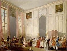 Le Thé à l'anglaise servi dans le salon des Quatre-Glaces au palais du Temple à Paris en 1764. By Michel Barthélemy OLLIVIER (1712-1784)