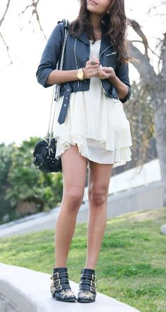 Leather + feminine dresses.