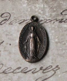 Antique French Sterling Silver Miraculous Medal Of The Immaculate Conception 1830 Blessed Virgin Mary Mother Of God