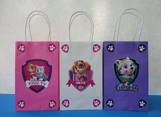 Cute Paw Patrol Favor/ Party Bags. Make your own Goodie/Treat Bags,  perfect to decorate your Paw Patrol Girls Birthday Party. Visit my Etsy shop to buy this Template! ☺