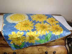Vintage Scarf CHEERY YELLOW FLOWERS With Sun by violetsandgrace