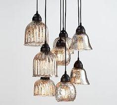 Mercury glass chandelier \ | Pottery Barn