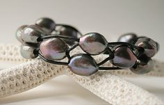 Peacock pearl bracelet grey gray handmade black by JudysDesigns - fashion - pearls and leather - jewelry