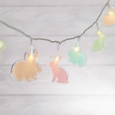 20 Pastel Bunny Fairy Lights   Lights4fun.co.uk Pastel Shades, Pastel Pink, Shades Of Green, Led, Twig Tree, Egg Decorating, White Lead, Easter Wreaths, Fairy Lights