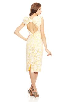 BADGLEY MISCHKA Lace Cocktail Dress with Bow Detail