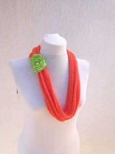 Orange with green flower infinity scarf  wool chain by NesrinArt, $21.00