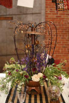 Lemony Snicket & Steampunk Inspired Wedding Shoot: Lydia & Brett · Rock n Roll Bride #Steampunk #steampunkcenterpiece #greendahilia
