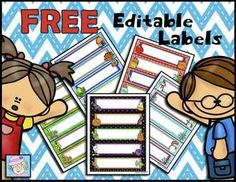 FREE! Editable Labels from TeacherTam on TeachersNotebook.com -  (5 pages)  - FREE! Grab this set of editable labels to make your classroom bright and cheery! It includes 5 sets with the following themes: spring, ocean, winter, Halloween, and back to school.