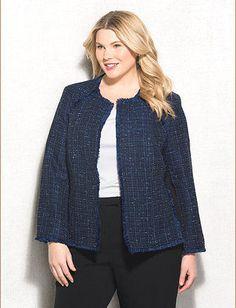 JONES STUDIO® Plus Size Fringe Tweed Jacket