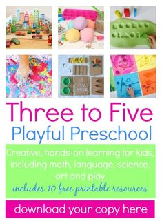 Playful Preschool - learning through play for 3-5 year olds. Activities for math, science, reading, writing, art, and more!