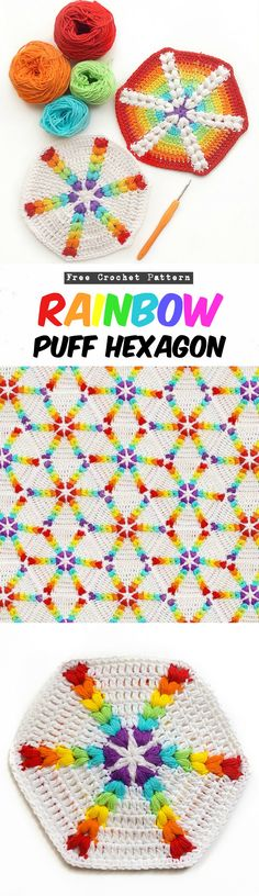 Rainbow Puff Hexagon