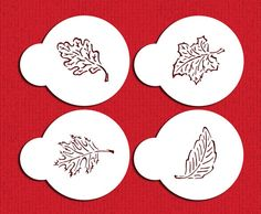 Designer Stencils Fall Leaves Cookie Stencils, Beige/semi-transparent: These stencils are cut out of a 10 mil, durable, food grade plastic. Each leaf fits in a circle. Leaf Cookies, Fall Cookies, Marble Nail Designs, Fall Nail Designs, Halloween Stencils, Welcome Fall, Decorating Tools, Cake Decorating, Touch Of Gold