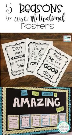Upper Elementary Snapshots: 5 Reasons to Use Motivational Posters in Your Classroom Motivational Bulletin Boards, Classroom Motivational Posters, Classroom Posters, Elementary Bulletin Boards, Elementary Schools, Upper Elementary, Classroom Community, Future Classroom, Classroom Helpers