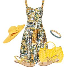 Floral dress and sun hat
