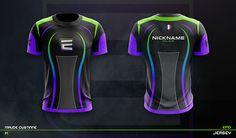 JERSEY ESPORT TEAM MOCKUP on Behance Sport Shirt Design, Sports Jersey Design, Sport T Shirt, Dart Shirts, E Sport, Shirt Template, Sports Games, Call Of Duty, Mockup
