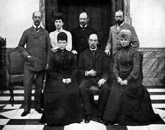 King Christian IX of Denmark with all of his six kids. 1903.  From top (starting left): King George I of Greece, Queen Alexandra of Great Britain, Crown Prince Frederick (later Frederick VIII of Denmark), and Prince Valdemar of Denmark.  From bottom (starting left): Tsarina Maria Feodorovna, King Christian IX, and Princess Thyra.