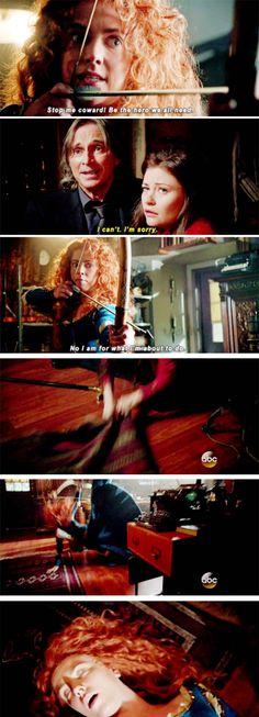 """""""Stop me coward! Be the hero we all need"""" - Merida, Rumple and Belle #OnceUponATime"""