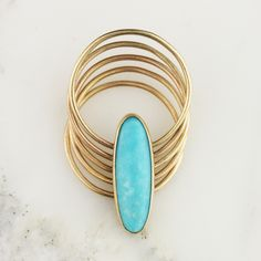 Handmade Solid 14k Gold Turquoise Hinged Stacking Thin Ring - 5 Bands