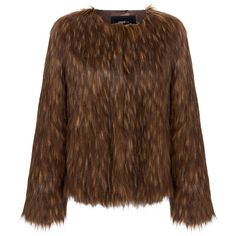 Unreal Fur Furry Floss Mocha Faux Fur Jacket ($125) ❤ liked on Polyvore featuring outerwear, jackets, brown, brown jacket, fake fur jacket, long sleeve jacket, oversized jacket and brown faux fur jacket