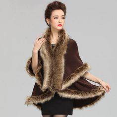 2015 New Fashion Cashmere Imitation Fox Fur Coat Cardigan Women Poncho Knitted Sweater Lady Scarves Free Shipping