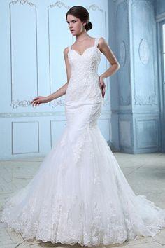Straps White Tulle Wedding Dress sfp0537 - http://www.shopforparty.com/straps-white-tulle-wedding-dress-sfp0537.html - COLOR: White; SILHOUETTE: Trumpet/Mermaid; NECKLINE: Straps; EMBELLISHMENTS: Applique , Beading , Sequin; FABRIC: Tulle - 184USD