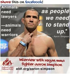 Aaron Simpson: MMA Champ, Wrestler, Vegan, and Animal Advocate. Animal Legal Defense Fund : Aaron Simpson: The Heart of a Fighter. aldf.org