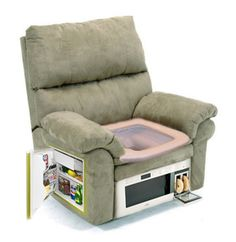 Armchair with built-in refrigerator and a microwave Toilet Chair, Gamer Chair, Candy Crush Saga, Built In Refrigerator, Mini Fridge, Chair Pictures, My New Room, Man Cave, Armchair
