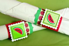 SRM Stickers - @Christine Ousley created these wonderful Summer themed party napkin rings using SRM Stickers August Monthly Memories sticker.  FUN!